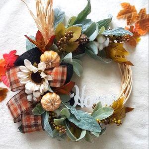Fall Farmhouse Wreath Handmade Autumn Wreath Decor